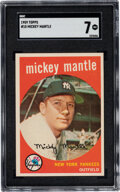 Baseball Cards:Singles (1950-1959), 1959 Topps Mickey Mantle #10 SGC NM 7. Offered is ...