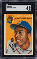 Baseball Cards:Singles (1950-1959), 1954 Topps Henry Aaron #128 SGC VG/EX 4. Solid mid...