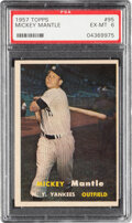 Baseball Cards:Singles (1950-1959), 1957 Topps Mickey Mantle #95 PSA EX-MT 6. Offered ...