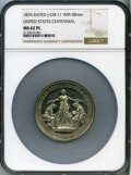 U.S. Mint Medals, 1876 United States Centennial, Julian-CM-11d, MS62 Prooflike NGC. White metal, 58mm....