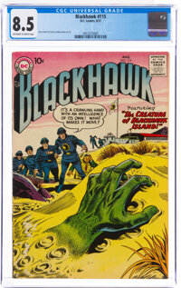 Blackhawk #115 (DC, 1957) CGC VF+ 8.5 Off-white to white pages
