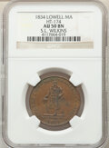Hard Times Tokens, 1834 Token S. L. Wilkins, HT-174, R.3, AU50 NGC. Lowell, MA. Copper, plain edge, 28mm....