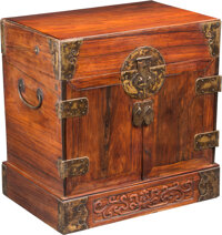 A Chinese Huanghuali Document Box 15-1/2 x 15-1/4 x 10-1/2 inches (39.4 x 38.7 x 26.7 cm)