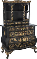 Furniture, An Asian Lacquered and Carved Giltwood Bombay Chest of Drawers with Open Cabinet. 59-1/4 x 37-1/2 x 19-3/4 inches (150.5 x 9...