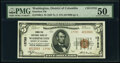 Washington, DC - $5 1929 Ty. 2 Hamilton National Bank Ch. # 13782 PMG About Uncirculated 50