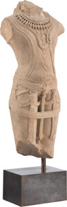 Carvings, An Indian Carved Sandstone Torso of a Male Deity. 27 x 9-1/2 x 7 inches (68.6 x 24.1 x 17.8 cm) (with stand). ...