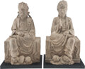 Carvings, A Pair of Chinese Carved Stone Bodhisattva Statue. 21 x 11-3/4 x 10-1/2 inches (53.3 x 29.8 x 26.7 cm) (each). ... (Total: 2 Items)
