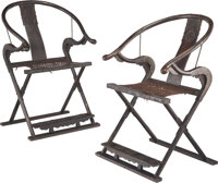 A Pair of Chinese Carved Hardwood and Bronze-Mounted Horseshoe-Back Folding Chairs, late 19th century 42 x 27-1/2 x 22 i...