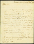 Colonial Notes:Mixed Colonies, Handwritten Letter from Charles Lee. Dumfries, Virginia. Dec. 13, 1782 Not Graded.. ...
