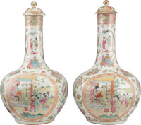 A Pair of Chinese Export Porcelain Vases 18-1/2 x 9-3/4 inches (47.0 x 24.8 cm) (each)  ... (Total: 2)