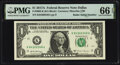 Radar Serial Numbers 84300348 and 85677658 Fr. 3005-K $1 2017A Federal Reserve Notes. PMG Gem Uncirculated 66 EPQ