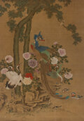 Paintings, Attributed to Lv Ji (Chinese, 1429-1505). Phoenix, Crane, Mandarin Duck, and Song Bird. Ink and color on silk. 81 x 57 i...