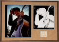 Music Memorabilia:Autographs and Signed Items, Bob Dylan Signed Slip of Paper Matted With Nashville Skyline Photo Prints Signed and Inscribed by Elliot Landy....