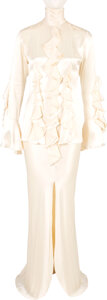 Music Memorabilia:Costumes, Whitney Houston Owned and Stage Worn Silk Ruffled Marc Bouwer Ivory Top and Skirt. ...