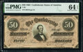 Confederate Notes:1864 Issues, T66 $50 1864 PF-6 Cr. UNL PMG Choice Uncirculated 64 EPQ.. ...