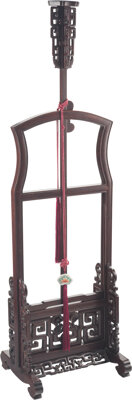 A Chinese Carved Hongmu Lantern Stand 53 x 15-1/4 x 13 inches (134.6 x 38.7 x 33.0 cm) 67-3/4 x 15-1/4 x 13 inches (172...