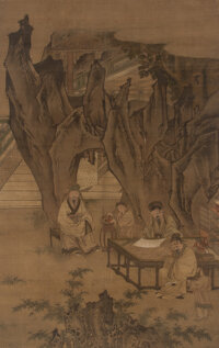 Attributed to Chen Yu (Chinese, 1313-1384) Scholars in Landscape Ink and color on silk 67 x 41 in