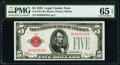 Small Size:Legal Tender Notes, Fr. 1525 $5 1928 Legal Tender Note. PMG Gem Uncirculated 6...