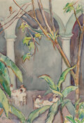 Works on Paper, Donna Norine Schuster (American, 1883-1953). Tea Time at the Mission Inn, Riverside. Watercolor and pencil on paper. 21-...