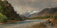 Henry A. Ferguson (American, 1842-1911) In the Andes of Chile, South America Oil on canvas laid on board 9 x 19-1/2 i