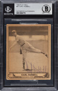 Baseball Cards:Autographs, Signed 1940 Play Ball Carl Hubbell #87 BAS Auto Authentic....