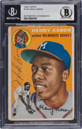 Autographs:Sports Cards, Signed 1954 Topps Hank Aaron #128 BAS Auto Authentic....
