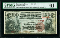 Davenport, IA - $100 1882 Brown Back Fr. 522 The Citizens National Bank Ch. # 1671 PMG Uncirculated 61