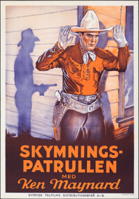 """Sunset Trail (Svensk Talfilms, 1938). Rolled, Very Fine. First Release Swedish One Sheet (27.5"""" X 39.5""""). West..."""