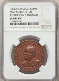 1896 Wm. McKinley Campaign Medal, Republican Candidate MS64 NGC. Copper, 32mm
