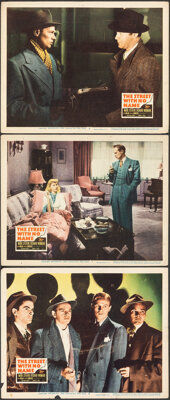"""The Street with No Name & Other Lot (20th Century Fox, 1948). Overall: Fine+. Lobby Cards (3) (11"""" X 14"""")..."""