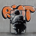Prints & Multiples, Martin Whatson (b. 1984). Riot, 2015. Acrylic and spray paint on canvas. 23-3/4 x 23-3/4 inches (60.3 x 60.3 cm). Ed. 8/...