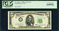 Fr. 1966-L* $5 1950E Federal Reserve Star Note. PCGS Very Choice New 64PPQ