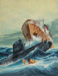 Pulp, Pulp-like, Digests and Paperback Art, Victor Prezio (American, 1924-1976). Secret Orders to Russian Trawlers: Sink America's Polaris Sub, Bluebook for Men magaz...