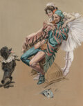 Works on Paper, Harrison Fisher (American, 1875-1934). Sitting at Attention, 1908. Watercolor and gouache on board. ...