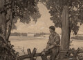 Mainstream Illustration, Franklin Booth (American, 1874-1948). Farmer on the Fence. Pencil and watercolor on board. 7-5/8 x 10-5/8 inches (19.4 x...