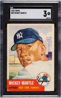 Baseball Cards:Singles (1950-1959), 1953 Topps Mickey Mantle #82 SGC VG 3. One of the ...