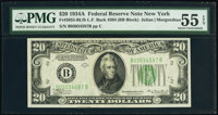 Fr. 2055-B $20 1934A Federal Reserve Note. Late Finished Back Plate 204. PMG About Uncirculated 55 EPQ