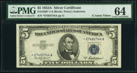 Fr. 1656* $5 1953A Silver Certificate Star. PMG Choice Uncirculated 64
