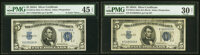 Fr. 1651 $5 1934A Mule Silver Certificates. G-A and K-A Blocks. PMG Graded Choice Extremely Fine 45 EPQ; Very Fine 30 Ne...