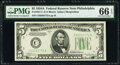 Small Size:Federal Reserve Notes, Fr. 1957-C $5 1934A Federal Reserve Note. PMG Gem Uncirculated 66 EPQ.. ...