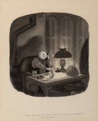 Charles Addams (American, 1912-1988) Uncle Fester Watercolor, ink, and wash on board 11-3/4 x 11