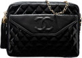 Luxury Accessories:Bags, Chanel Black Quilted Patent Leather Shoulder Bag with Gold...