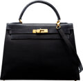 Luxury Accessories:Bags, Hermès Vintage 32cm Blue Tinted Black Lizard Sellier Kelly Bag with Gold Hardware. Z Circle, 1996. Condition: 4. 1...