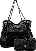 """Luxury Accessories:Bags, Chanel Black Patent Leather La Madrague Tote with Medium Flap Bag. Condition: 3. 17"""" Width x 13"""" Height x 5.5"""" Depth..."""