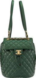 """Luxury Accessories:Bags, Chanel Green Quilted Lambskin Leather Backpack with Gold Hardware. Condition: 1. 8.5"""" Width x 9"""" Height x 5.5"""" Height ..."""