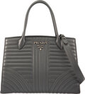 """Luxury Accessories:Bags, Prada Gray Diagramme Quilted Soft Calfskin Leather Impunture Tote. Condition: 2. 12"""" Width x 8.5"""" Height x 6"""" Depth..."""