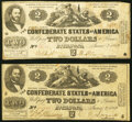Confederate Notes:1862 Issues, T42 $2 1862 Two Examples. Fine.. ... (Total: 2 notes)
