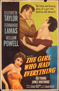 """The Girl Who Had Everything (MGM, 1953). Rolled, Fine-. Poster (40"""" X 60""""). Romance"""