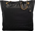 Luxury Accessories:Bags, Chanel Black Calfskin Leather Shopping Tote Bag with Gold ...
