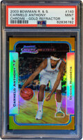 Basketball Cards:Singles (1980-Now), 2003 Bowman Carmelo Anthony (Chrome-Gold Refractor) #140 PSA Mint 9- #'d 2/50....